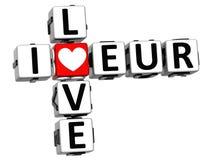 3D Kocham EUR Crossword Zdjęcie Stock