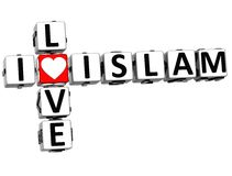 3D Kocham islamu Crossword Zdjęcia Royalty Free