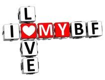 3D Kocham Mój BF Crossword Zdjęcia Stock