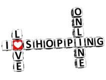 3D Kocham Online zakupy Crossword Fotografia Royalty Free
