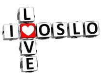 3D Kocham Oslo Crossword Zdjęcie Royalty Free