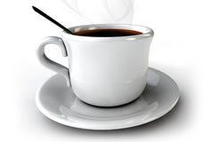 3d Koffie GLB op de lijst aangaande een wihteachtergrond Stock Afbeelding