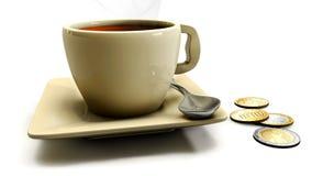 3d Koffie op de lijst aangaande een witte achtergrond Stock Afbeelding