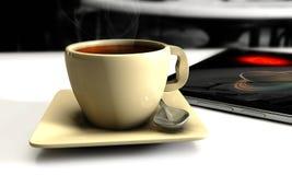 3d Koffie op de lijst met planshet Royalty-vrije Stock Afbeelding
