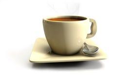 3d Koffie op de lijst met planshet Stock Afbeeldingen