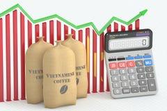 3D Koffieprijs bij uitvoer en concept, grafiek met calculator Stock Fotografie