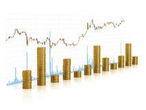 3D kolommen van gouden muntstukken met de grafiekgrafiek van de kaarsstok op achtergrond stock illustratie