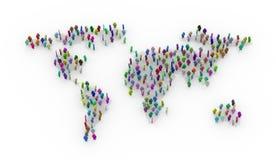 3d kolorowi ludzie stoi na światowej mapie Obraz Royalty Free