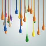 3D koloru farby kropli glansowane krople obraz royalty free