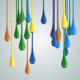 3D koloru farby kropli glansowane krople ilustracji