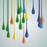 3D koloru farby kropli glansowane krople royalty ilustracja