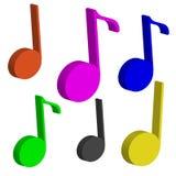 3D koloru notatki odizolowywać na białym tle muzyka Obrazy Royalty Free