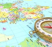 3d kompas na mapie Zdjęcia Stock