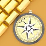 3d kompas z złocistego teksta i złocistego baru pojęciem Obraz Stock