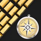 3d kompas z złocistego teksta i złocistego baru pojęciem Fotografia Royalty Free