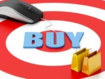 3d komputerowa mysz i torba na zakupy karcianego handlu komputerowy pojęcia kredyt e wręcza klawiaturę Obraz Stock