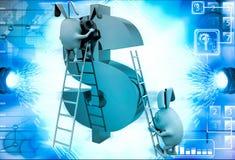 3d konijn die dollarteken met ladderillustratie beklimmen Royalty-vrije Stock Afbeelding