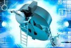 3d konijn die dollarteken met ladderillustratie beklimmen Stock Afbeeldingen