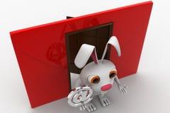 3d konijn met rood wikkelt naast en @ e-mailteken in hand concept Stock Afbeeldingen