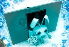 3d konijn met rood wikkelt naast en @ e-mailteken in hand illustratie Stock Fotografie