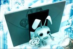3d konijn met rood wikkelt naast en @ e-mailteken in hand illustratie Stock Foto