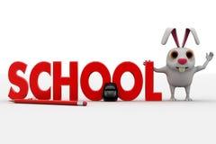 3d konijn met schooltekst en zak en potlodenconcept Stock Foto