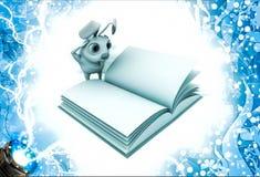 3d konijn in strees terwijl het lezen van boekillustratie Royalty-vrije Stock Afbeeldingen