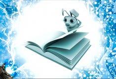3d konijn in strees terwijl het lezen van boekillustratie Stock Foto's