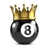3d Koning 8 bal draagt een gouden kroon Royalty-vrije Stock Foto