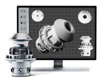 3D Konzeption- des Produktssoftware und hergestelltes Produkt Abbildung 3D Stockfotografie