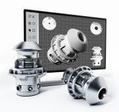 3D Konzeption- des Produktssoftware und hergestelltes Produkt Abbildung 3D Stockfoto