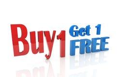 3d koop 1 krijgen 1 vrij Royalty-vrije Stock Afbeelding