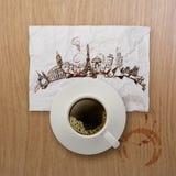 3d kop die van koffie rond de wereld reizen Stock Afbeelding