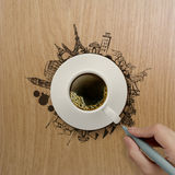 3d kop die van koffie rond de wereld reizen Royalty-vrije Stock Foto's