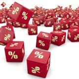 3d korting en rode kubussen Royalty-vrije Stock Afbeelding