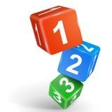 3d kostka do gry ilustracyjni z liczbami jeden dwa trzy Zdjęcie Royalty Free