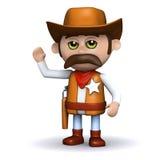 3d Kowbojski szeryf macha cześć ilustracji