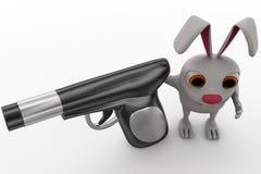 3d królik wskazuje armatniego pojęcie Zdjęcia Stock