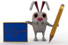 3d królik z ołówka i deski pojęciem Zdjęcia Stock