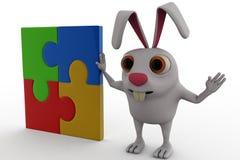 3d królik z zupełnym łamigłówki pojęciem Zdjęcia Stock