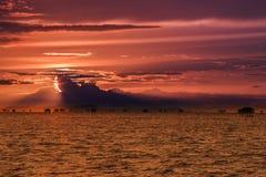 3 d krajobrazu panoramy morza słońca Zdjęcia Stock