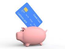3d kredytowa karta i prosiątko bank Zdjęcia Stock