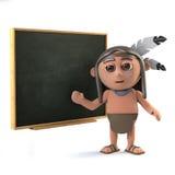 3d kreskówki Śmiesznego rodowitego amerykanina Indiański charakter przy blackboard Obraz Stock