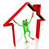 3D kreskówki żaba - domowy pojęcie Obraz Royalty Free
