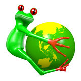 3D kreskówki żaba - Ziemski pojęcie ilustracji