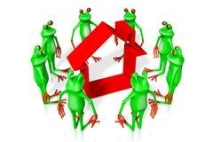 3D kreskówki żaby - domowy pojęcie Fotografia Stock