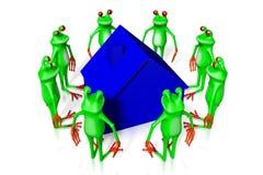 3D kreskówki żaby - domowy pojęcie Zdjęcia Stock