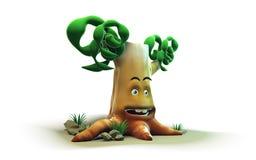 3D kreskówki drzewo dalej odizolowywa tło Zdjęcie Royalty Free