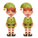 3d kreskówki elfa dziewczyny I chłopiec charakterów Santa ikon Bożenarodzeniowego Nastoletniego nowego roku Realistyczna Wakacyjn ilustracji