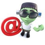 3d kreskówki frankenstein Śmieszny potwór trzyma emaila adresu symbol royalty ilustracja